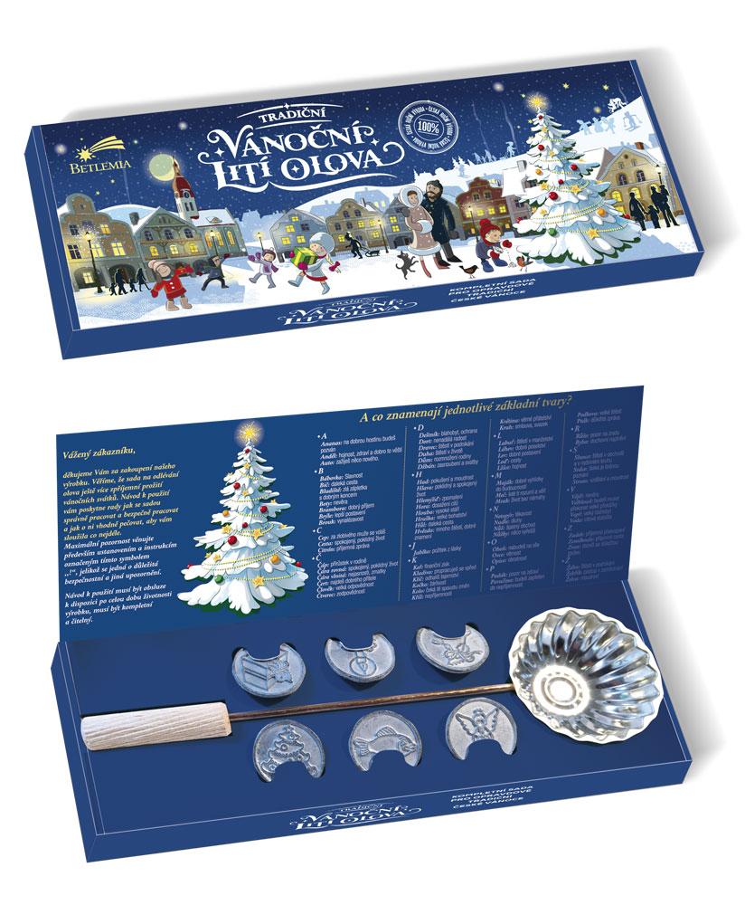 vánoční lití olova - krabice otevřená a zavřená